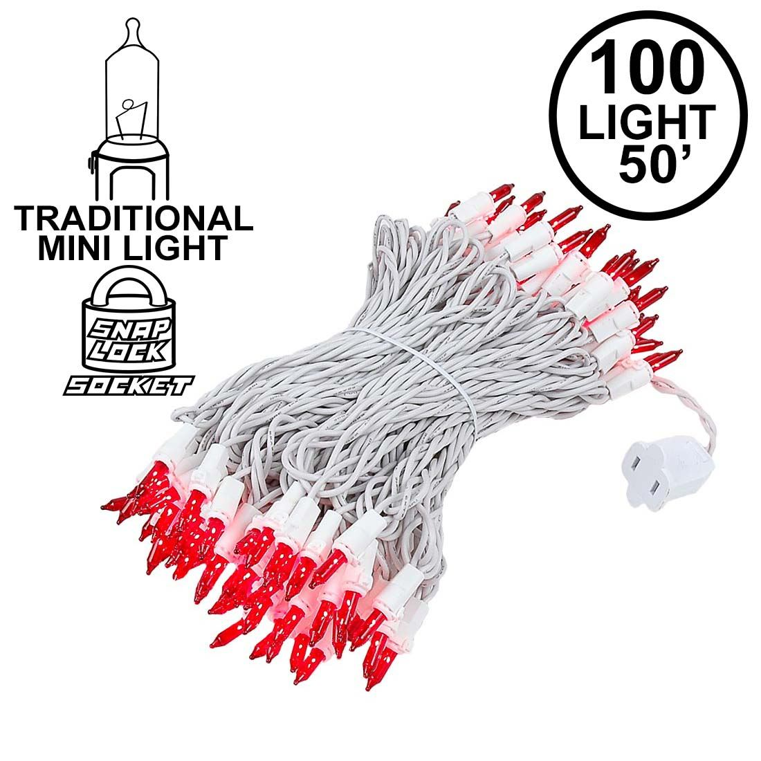Picture of 100 Light 50' Long White Wire Red Christmas Mini Lights