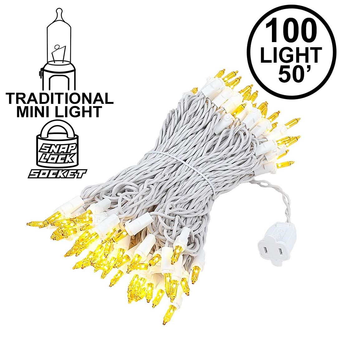Picture of Yellow Christmas Mini Lights 100 Light 50 Feet Long on White Wire