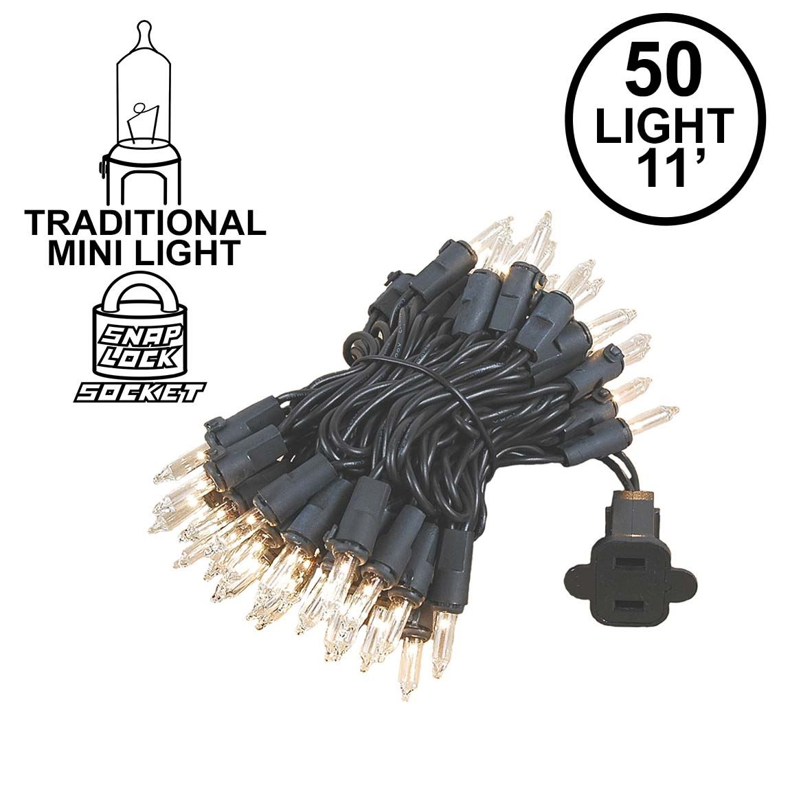 Picture of Black Wire Clear Christmas Mini Lights 50 Light 11 Feet Long