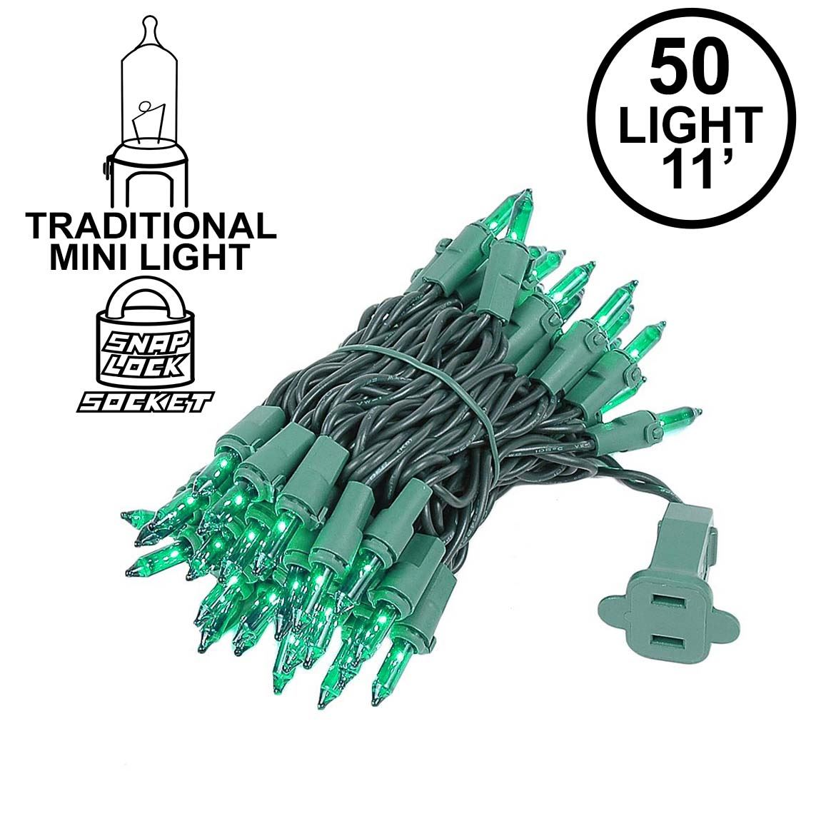 Picture of Green 50 Light 11' Long Green Wire Christmas Mini Lights