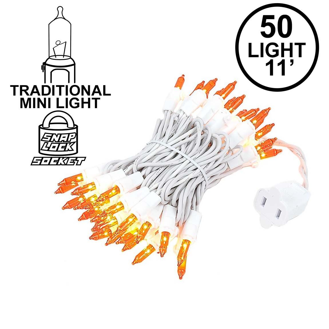 Picture of Amber/Orange 50 Light 11' Long White Wire Christmas Mini Lights