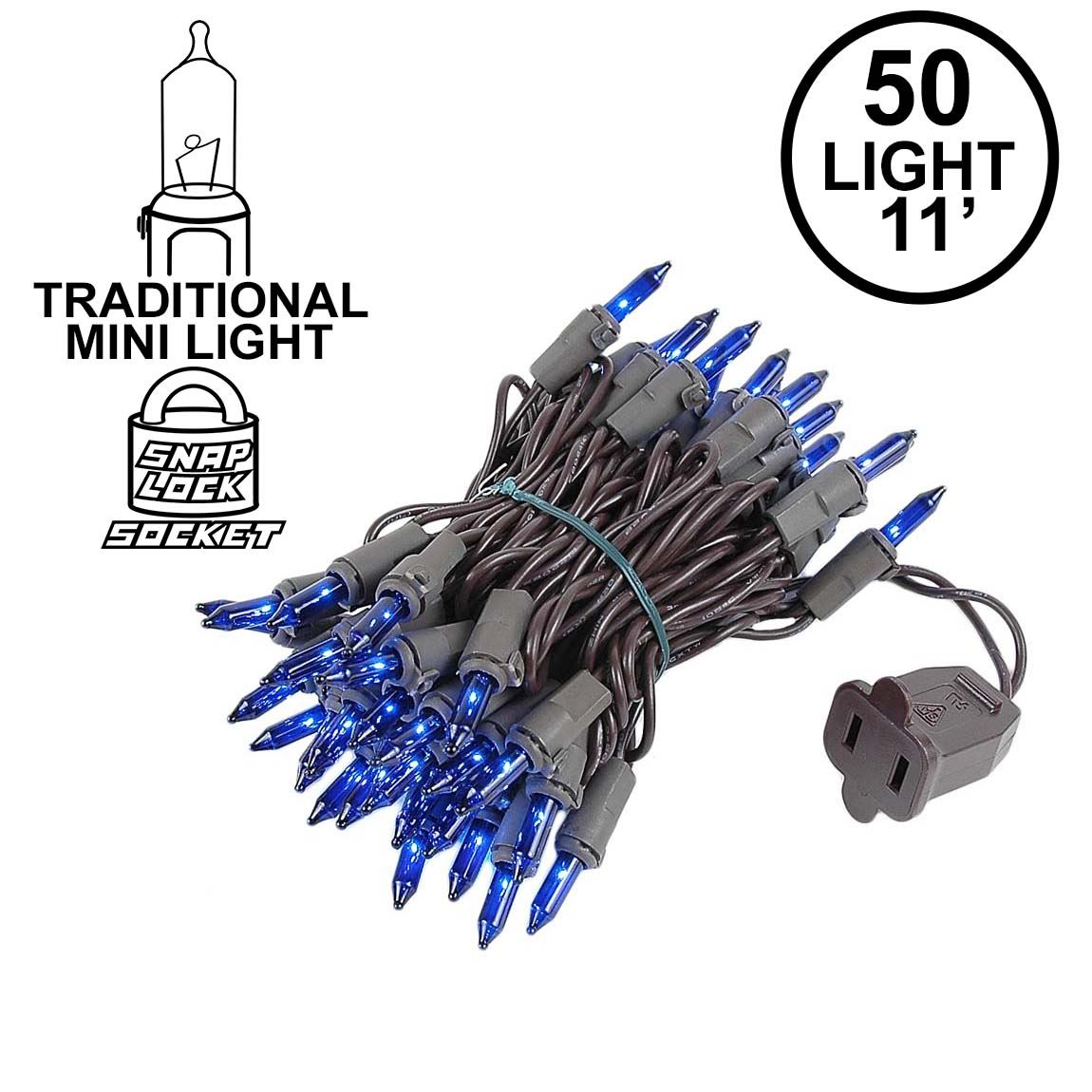 Picture of Blue Christmas Mini Lights 50 Light on Brown Wire 11 Feet Long
