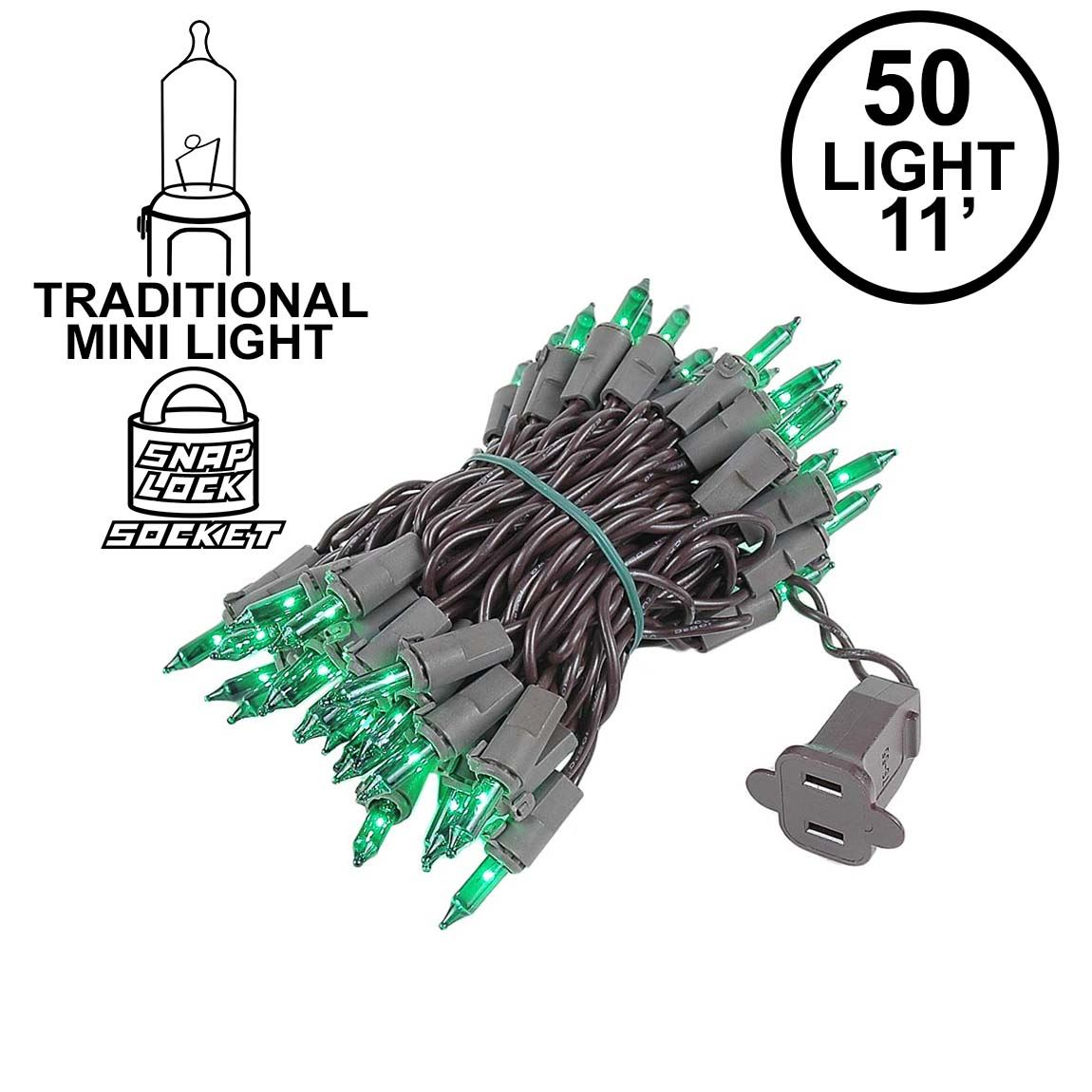 Picture of Green Christmas Mini Lights 50 Light on Brown Wire 11 Feet Long