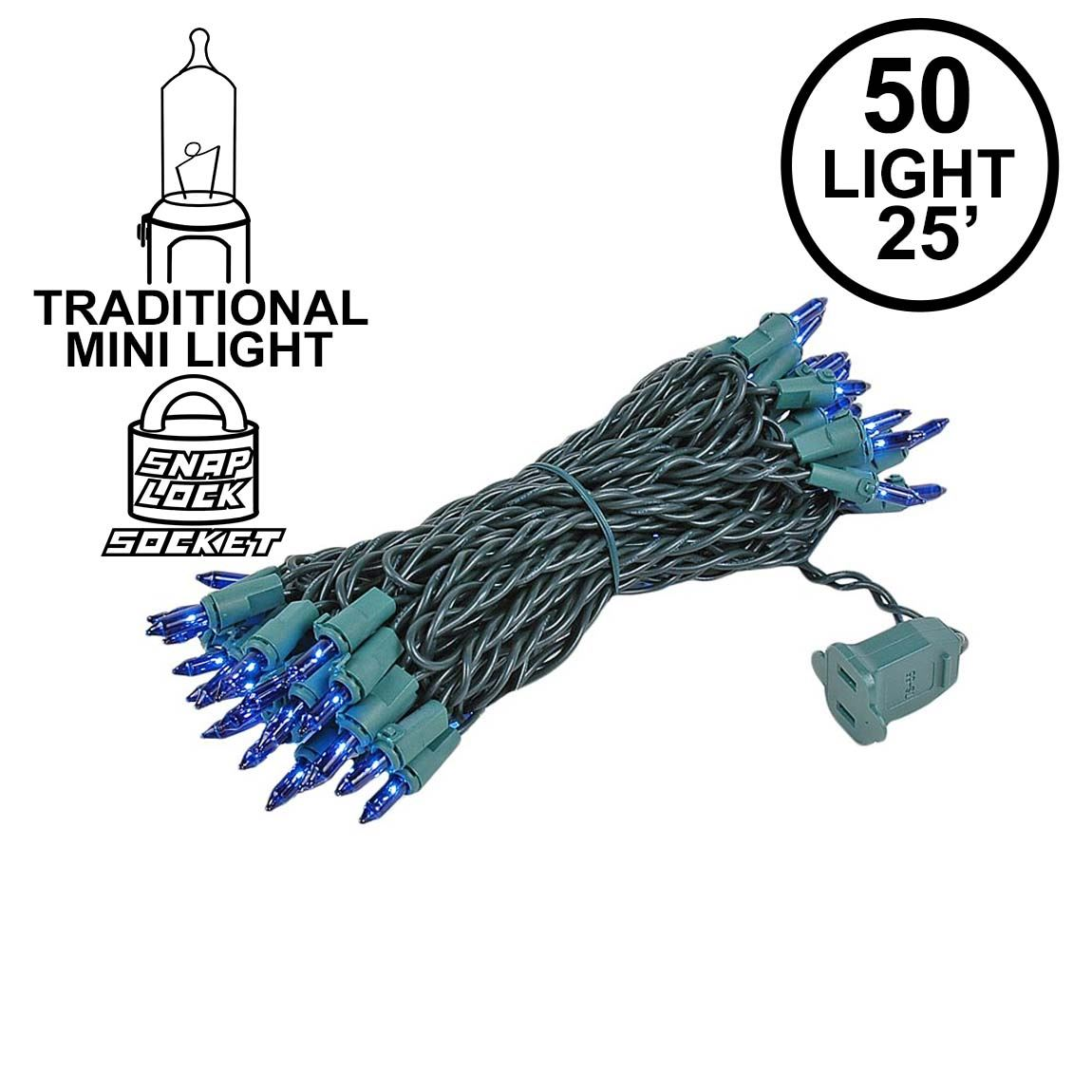 Picture of Blue 50 Light 25' Long Green Wire Christmas Mini Lights