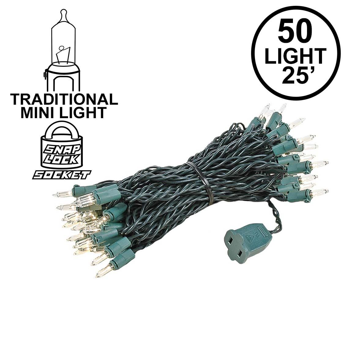 Picture of Clear 50 Light 25' Long Green Wire Christmas Mini Lights