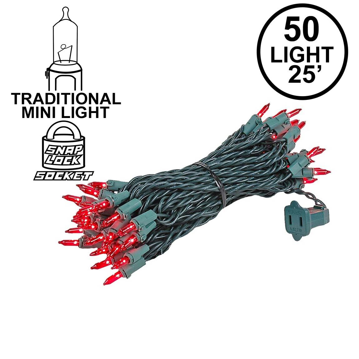 Picture of Red 50 Light 25' Long Green Wire Christmas Mini Lights