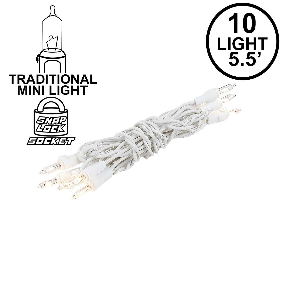 Picture of 10 Light 5.5' White Wire Christmas Mini Lights