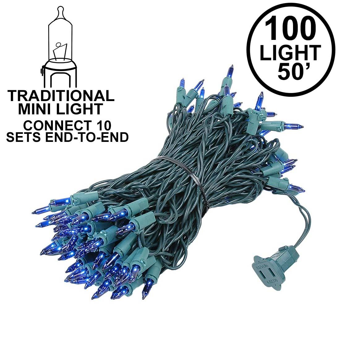 Picture of Connect 10 Blue Christmas Mini Lights 100 Light 50 Feet Long