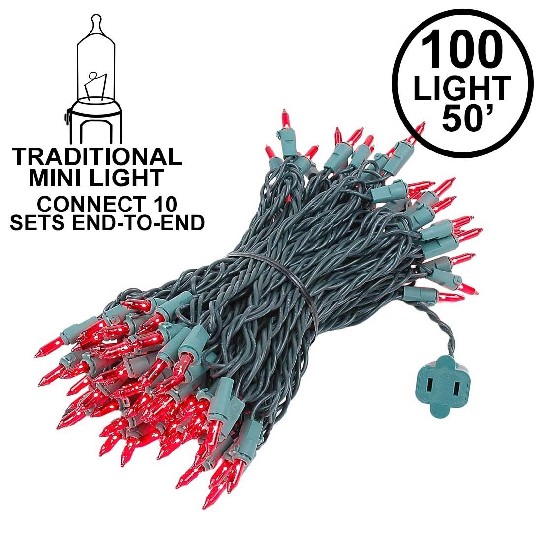 Picture of Connect 10 Red Christmas Mini Lights 100 Light 50 Feet LongConnect 10 Red Christmas Mini Lights 100 Light 50 Feet Long**ON SALE**