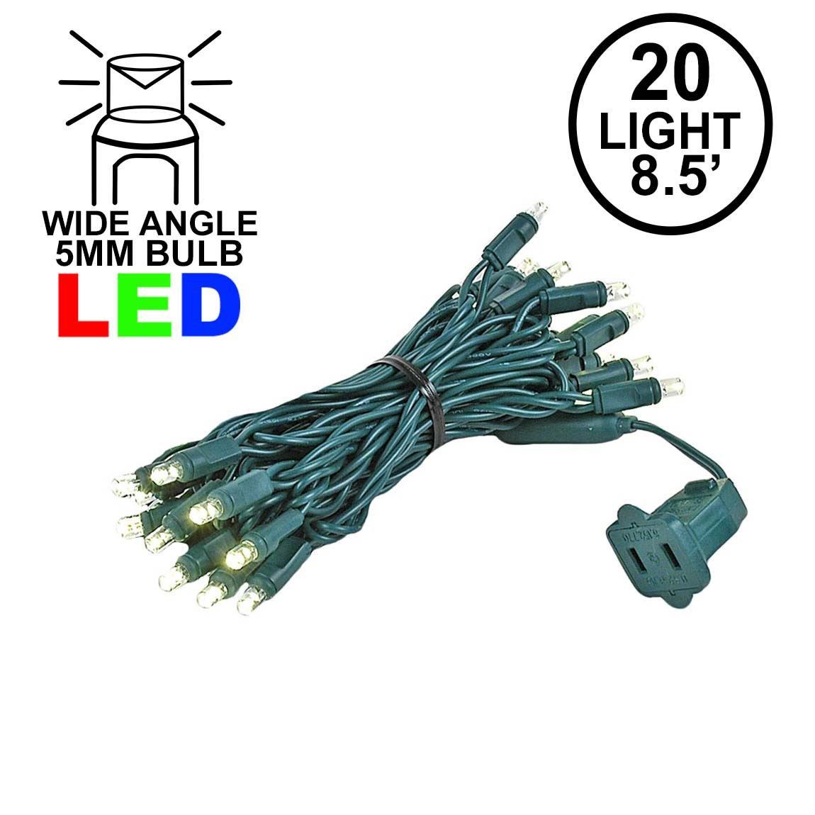 Picture of 20 Light Warm White LED Mini Lights Green Wire