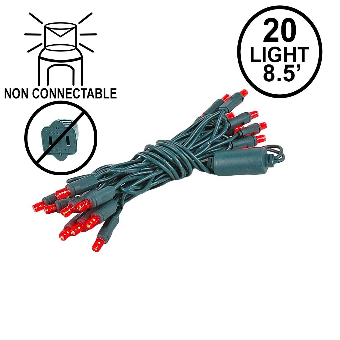Picture of 20 Light Non Connectable Red LED Mini Lights Green Wire