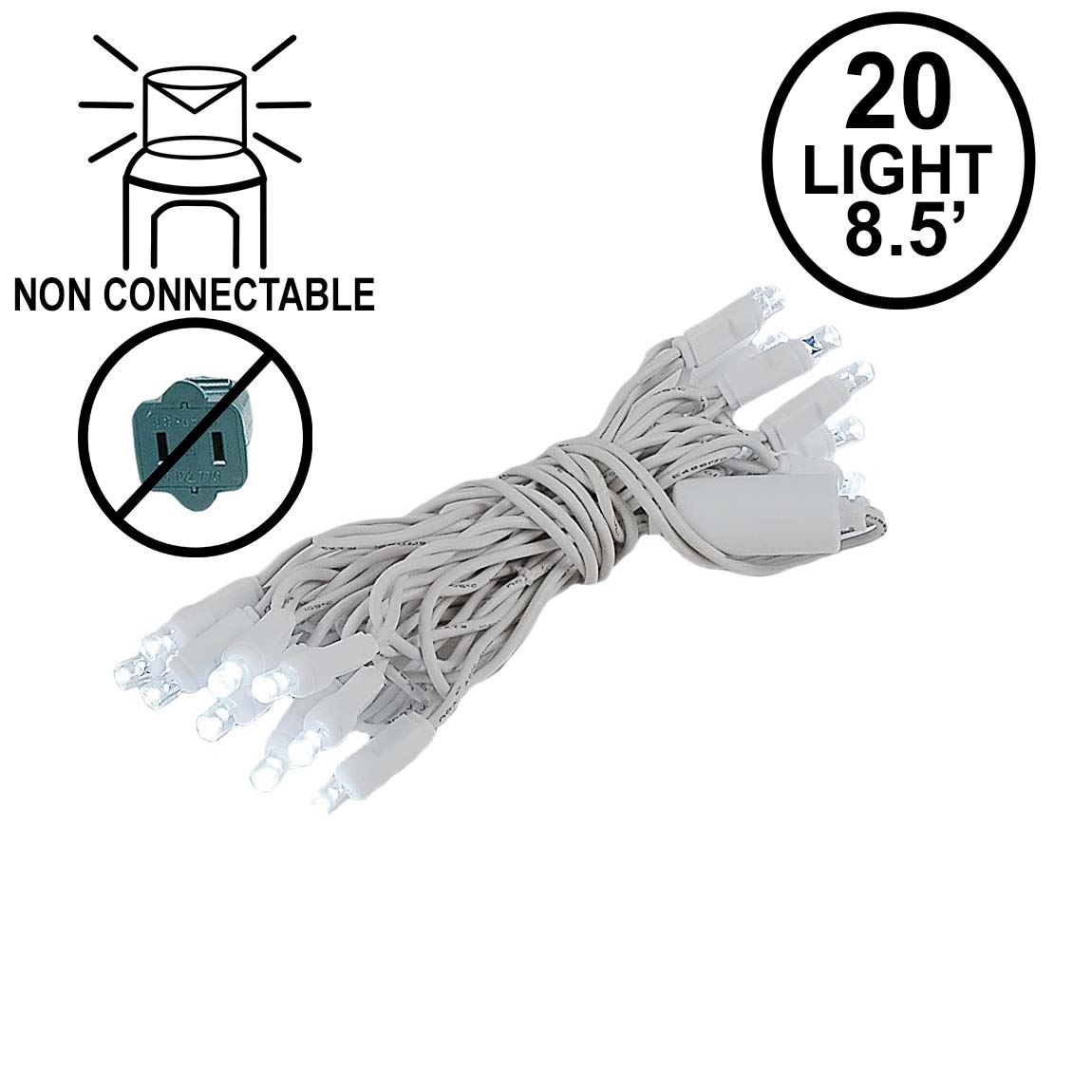 Picture of 20 Light Non Connectable Pure White LED Mini Lights White Wire