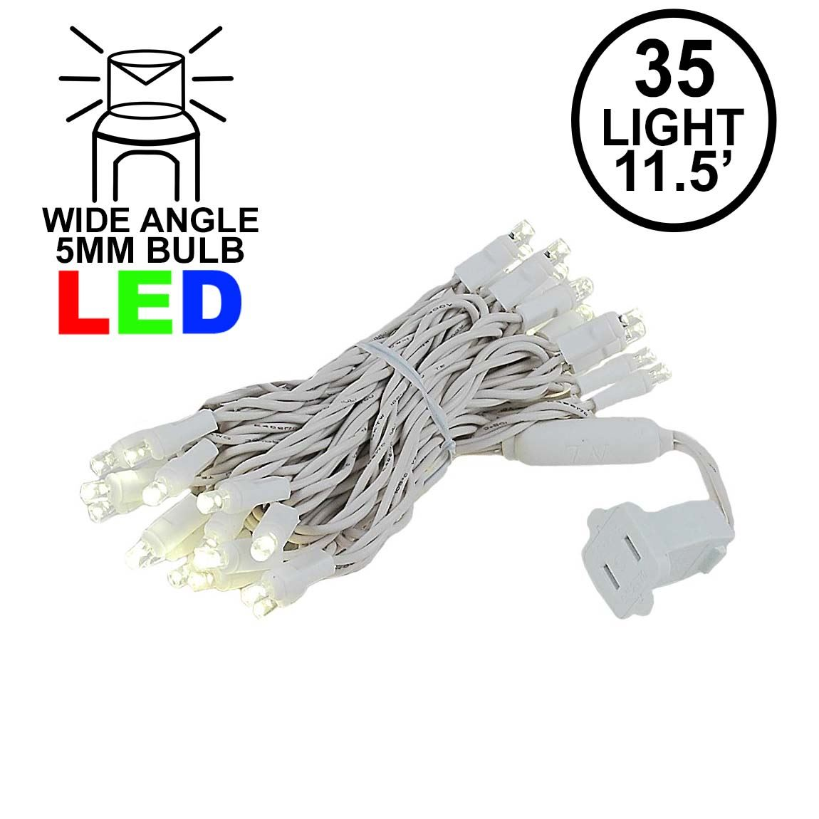 Picture of 35 Light Warm White LED Mini Lights 11.5' Long on White Wire