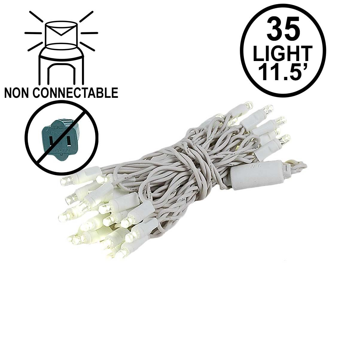 Picture of 35 Light Non Connectable Warm White LED Mini Lights White Wire