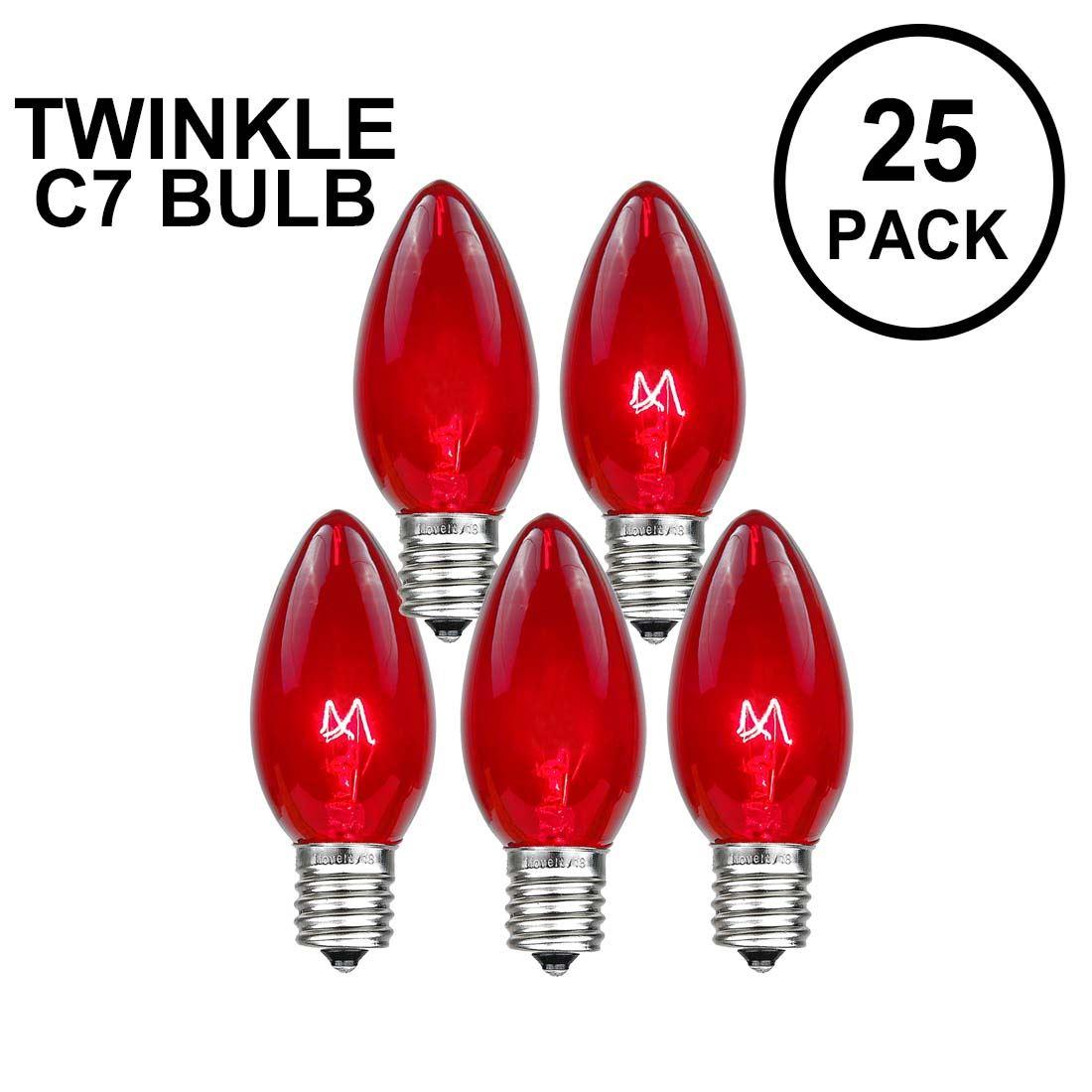 Picture of Red Twinkle C7 7 Watt Bulbs 25 Pack