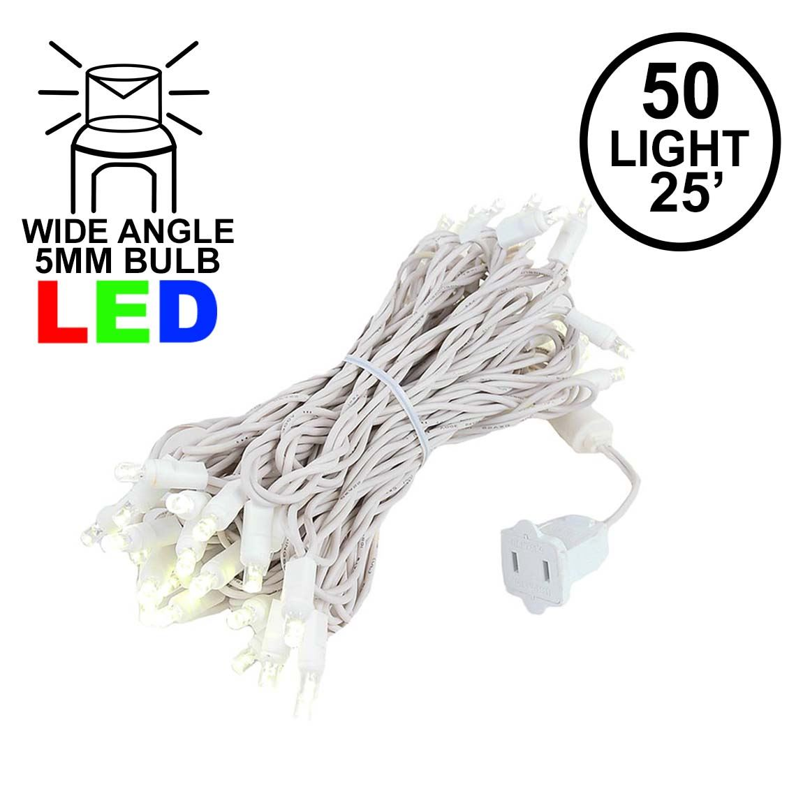 Picture of 50 Light 25' Long White Wire Mini Christmas Lights