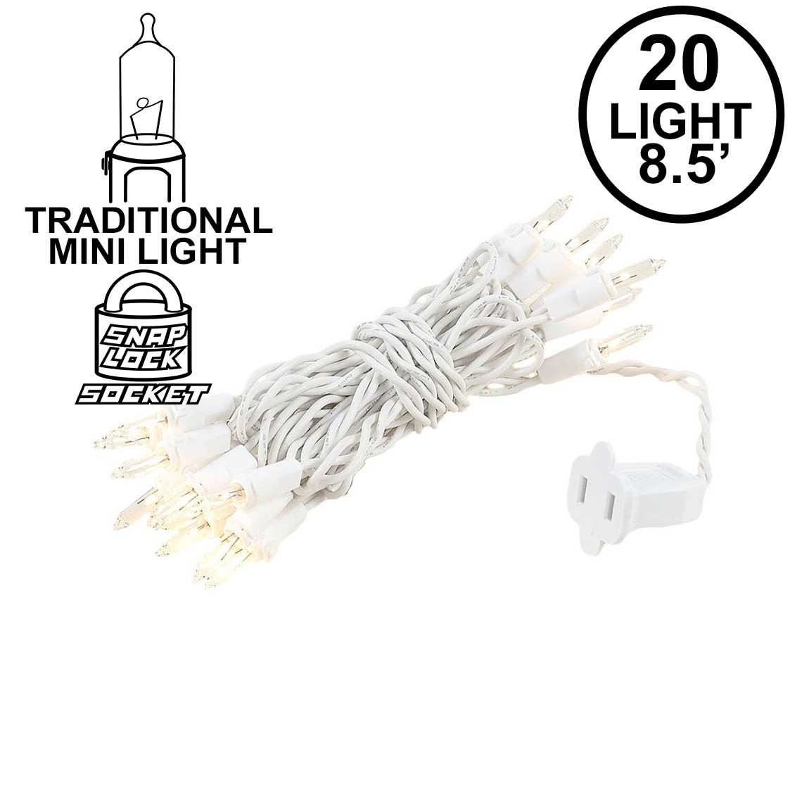 Picture of 20 Light 9' Long White Wire Christmas Mini Lights