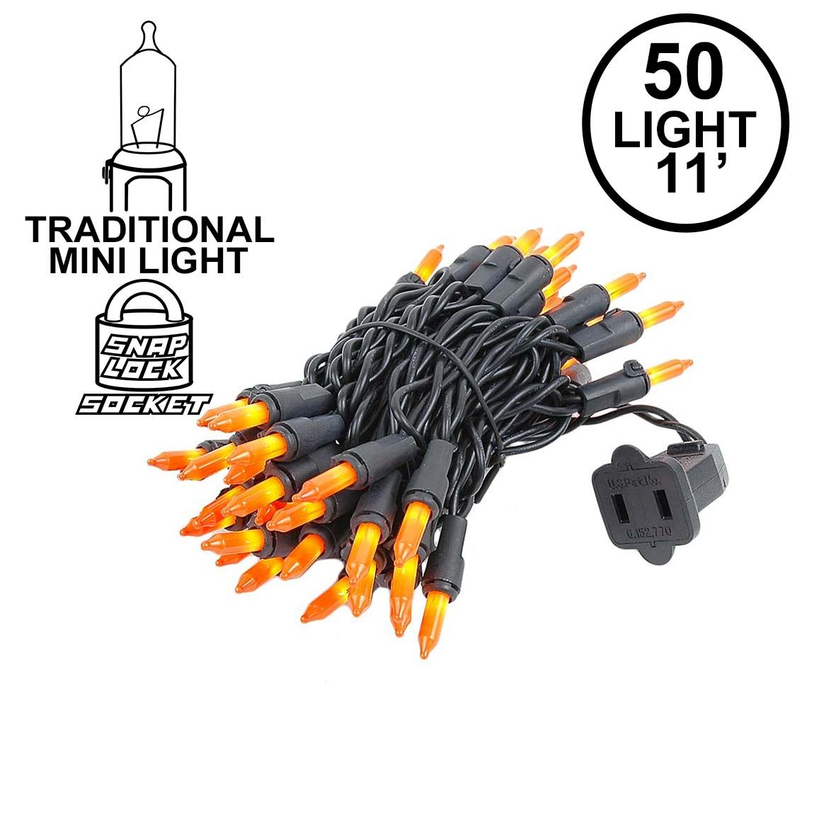 Picture of Black Wire Frosted Orange Christmas Mini Lights 50 Light 11 Feet Long