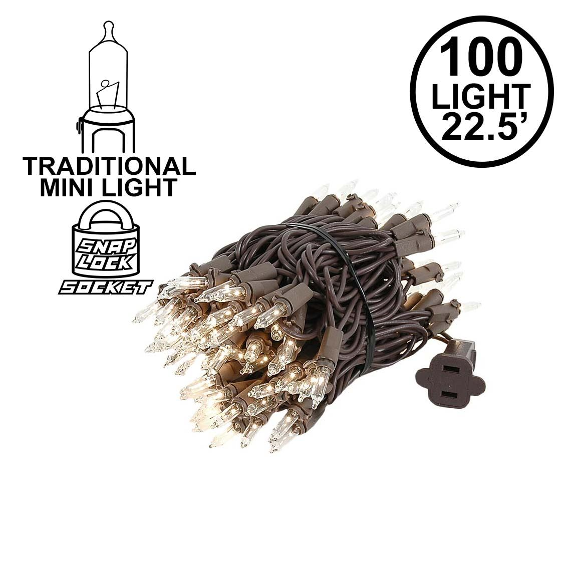 Picture of 100 Light 22' Long Brown Wire Christmas Mini Lights
