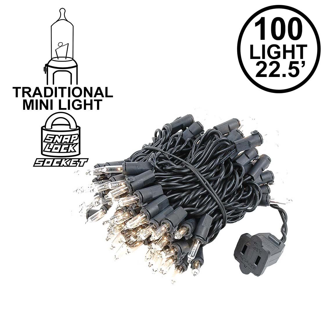 Picture of Black Wire Clear Christmas Mini Lights 100 Light 22 Feet Long