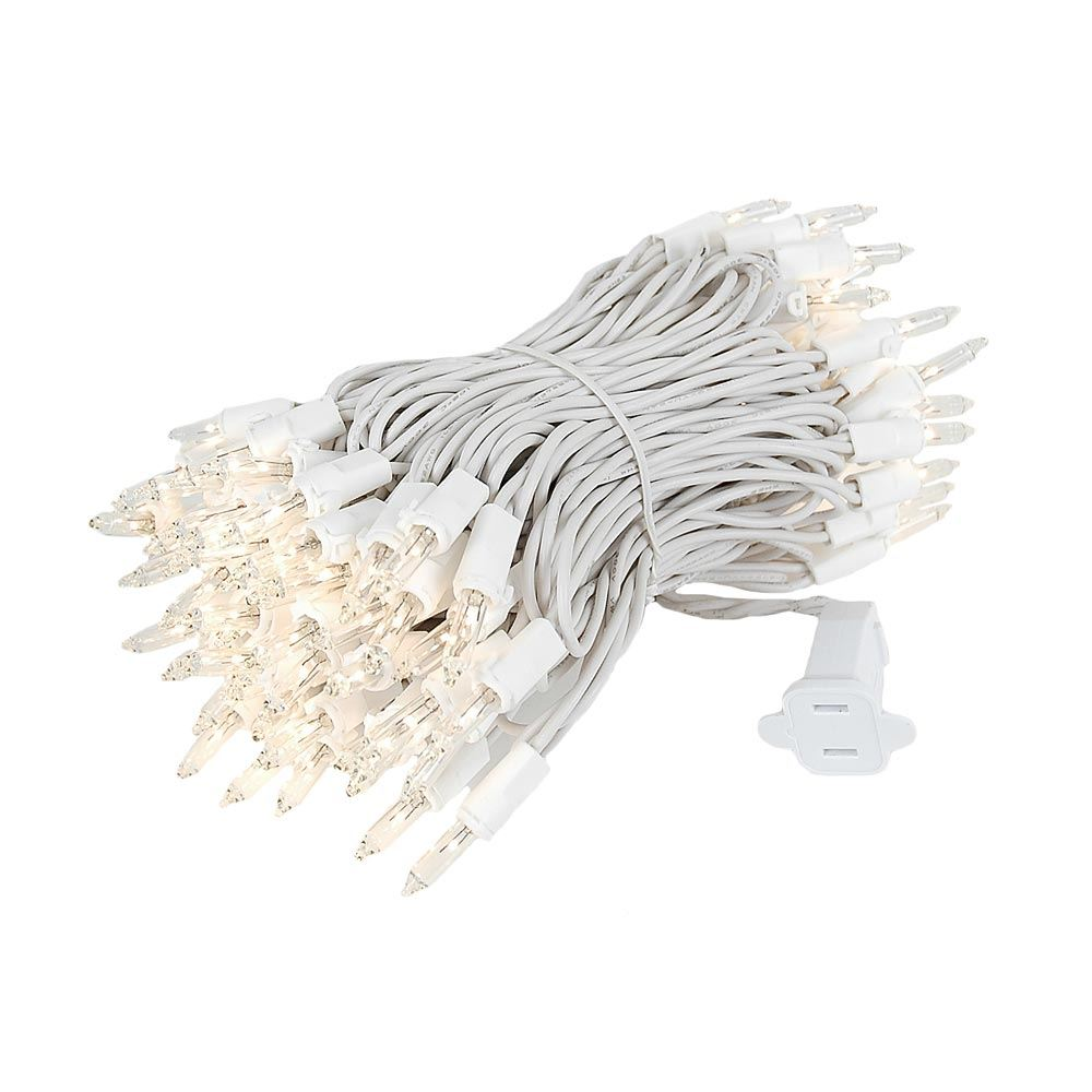 Picture of 100 Light 34' Long White Wire Christmas Mini Lights
