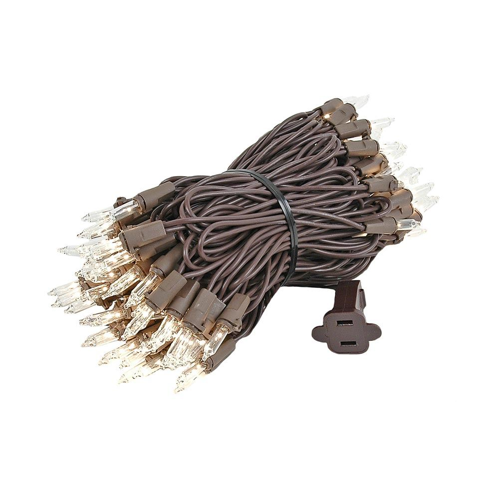Picture of Clear Christmas Brown Wire Mini Lights 100 Light 34 Feet Long
