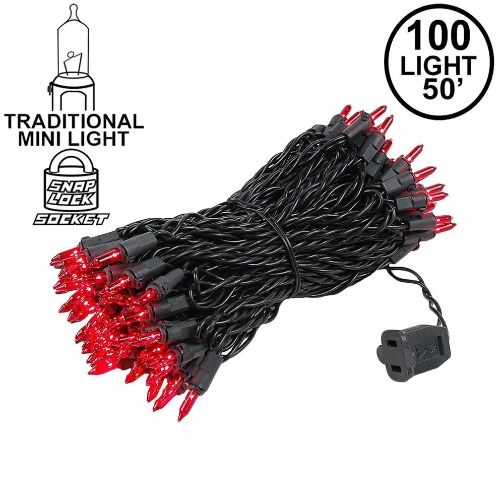 Picture of Black Wire Red Christmas Mini Lights 100 Light 50 Feet Long