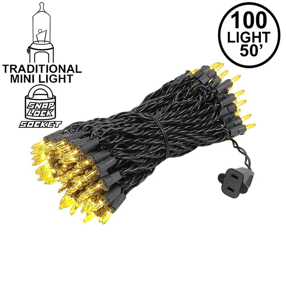 Picture of Yellow Christmas Mini Lights 100 Light 50 Feet Long on Black Wire