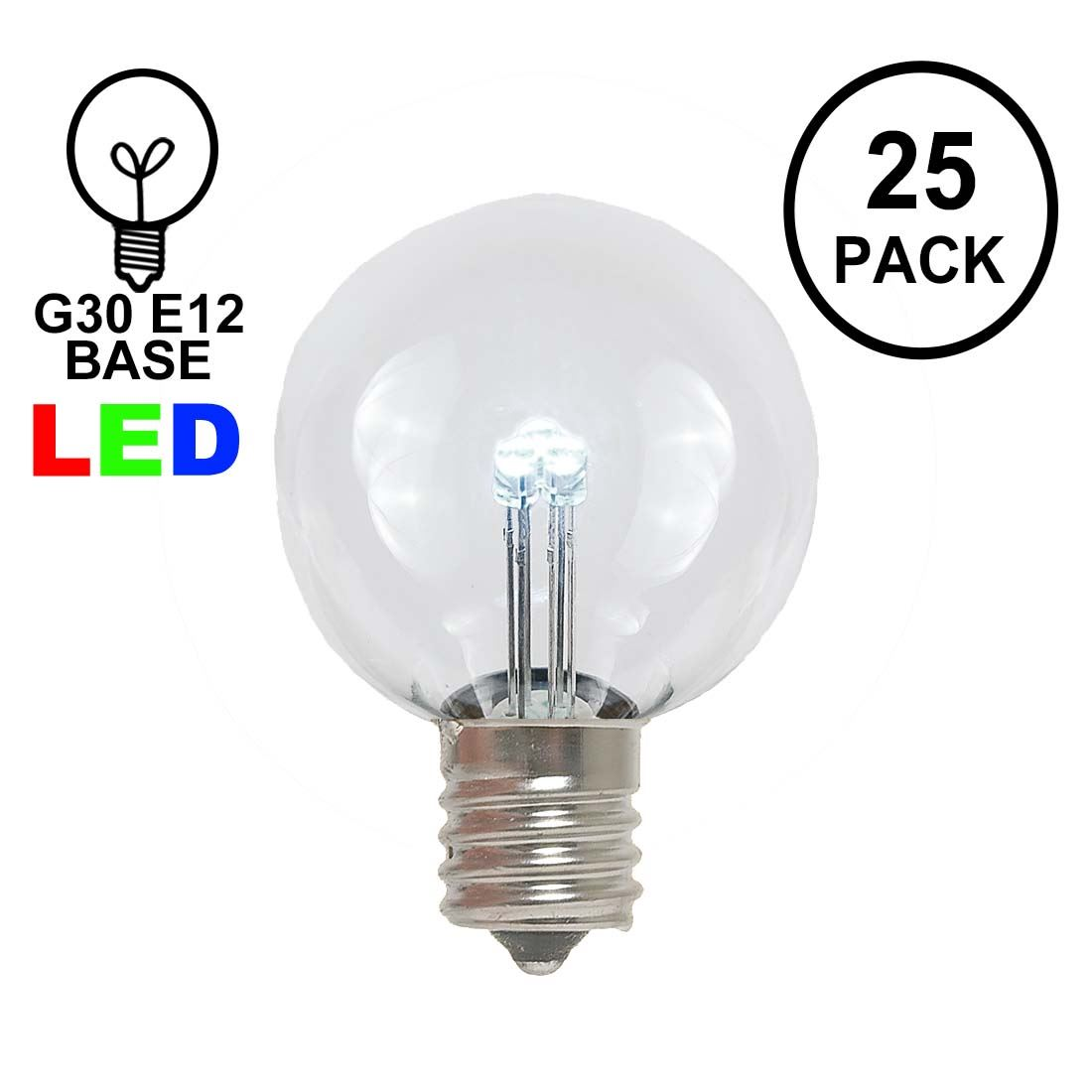 Picture of Pure White - G30 Glass LED Replacement Bulbs - 25 Pack