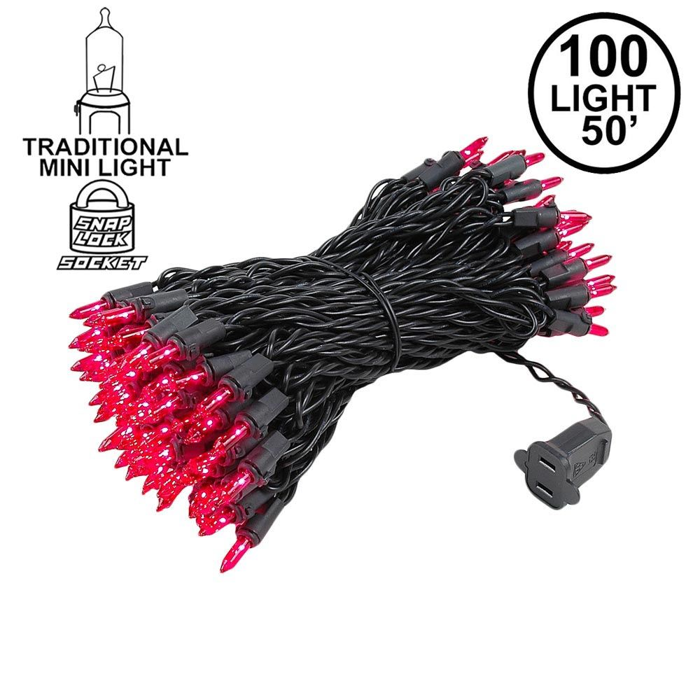 Picture of Black Wire Pink Christmas Mini Lights 100 Light 50 Feet Long