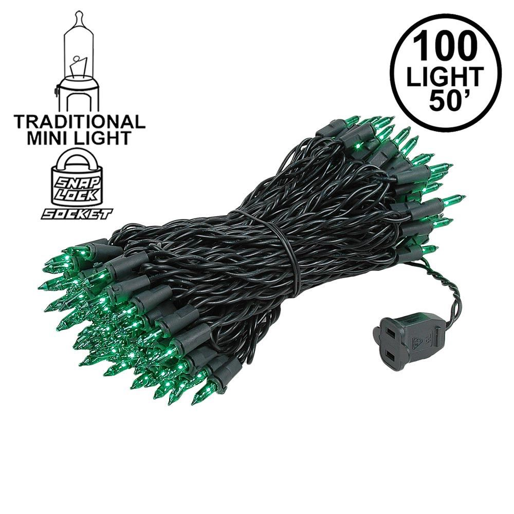Picture of Black Wire Green Christmas Mini Lights 100 Light 50 Feet Long