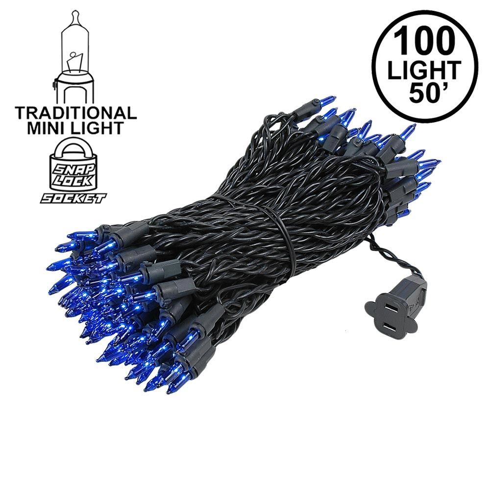 Picture of Blue Christmas Mini Lights 100 Light 50 Feet Long on Black Wire