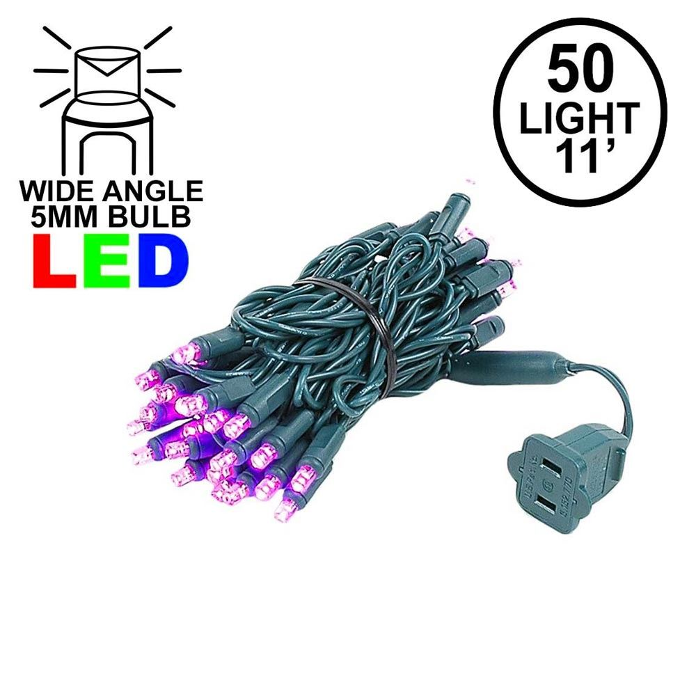 Picture of 50 LED Pink LED Christmas Lights 11' Long on Green Wire