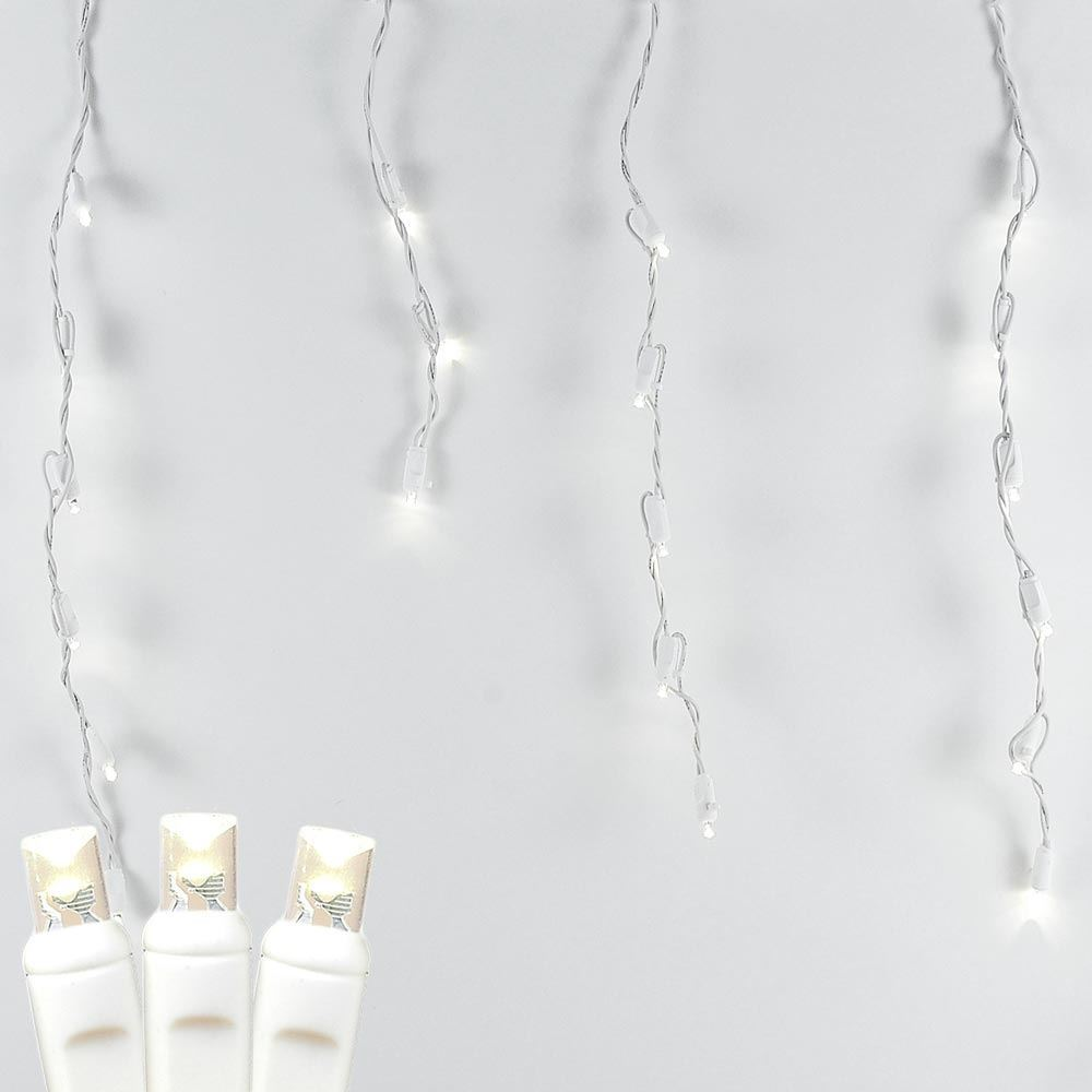 Picture of Twinkle Warm White LED Icicle Lights on White Wire 70 Bulbs