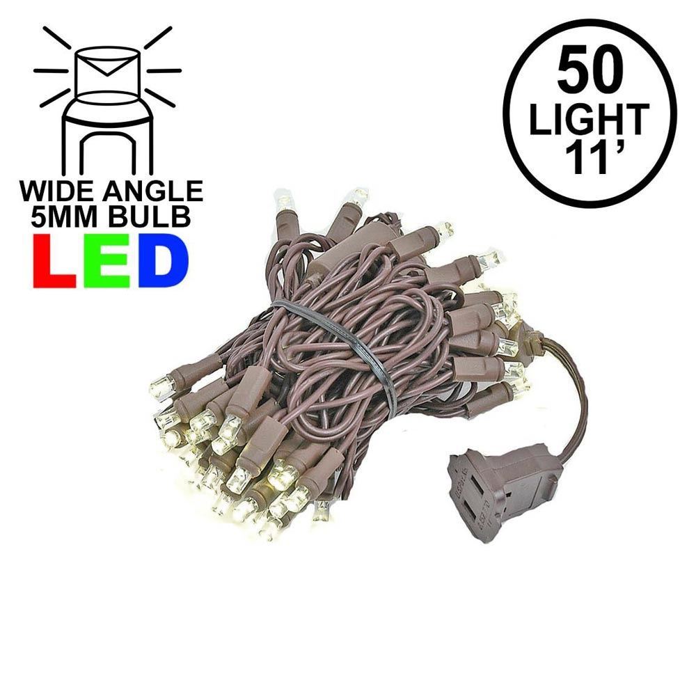 Picture of 50 LED Warm White LED Christmas Lights 11' Long on Brown Wire