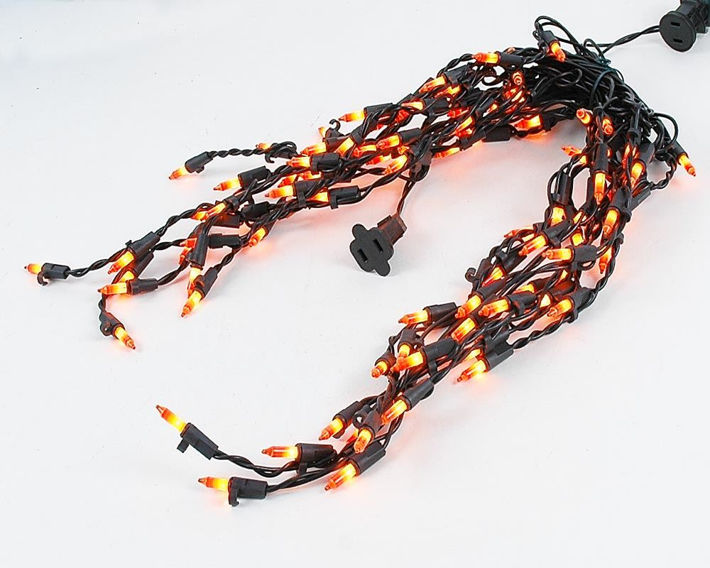 Connect 5 Frosted Orange Black Wire Icicle Lights Medium Drops