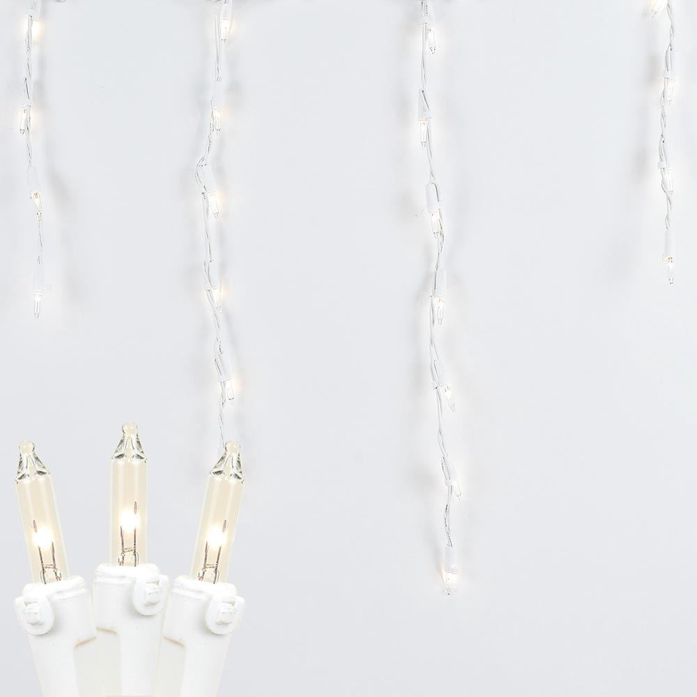 Picture of Clear 100 Light Icicle Lights White Wire Medium Drops**On Sale**