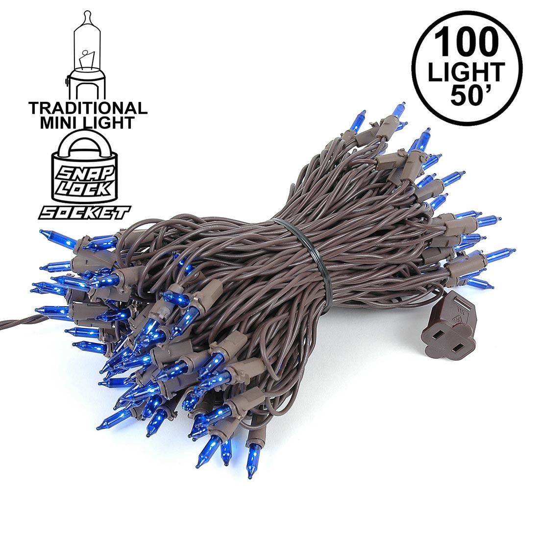 Picture of Blue Christmas Mini Lights 100 Light 50 Feet Long on Brown Wire
