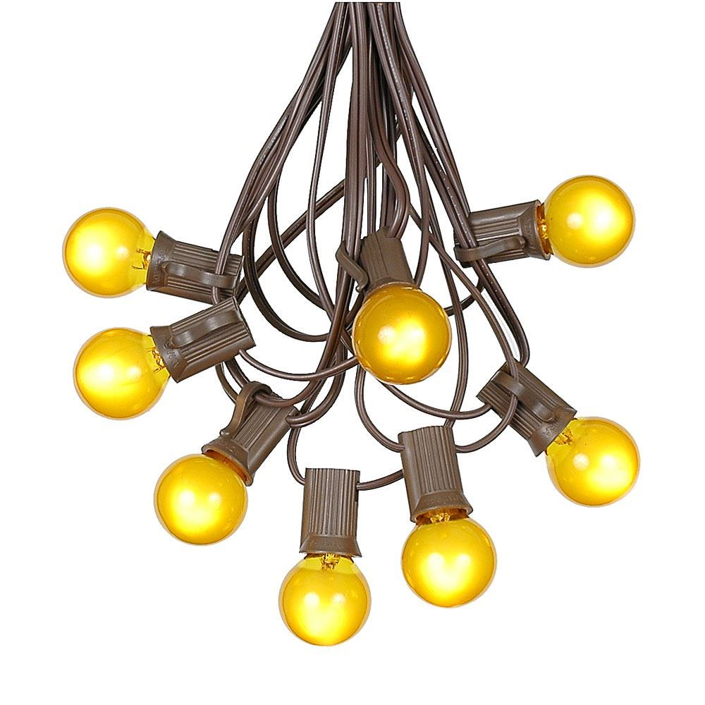 Picture of 25 G30 Globe Light String Set with Yellow Satin Bulbs on Brown Wire