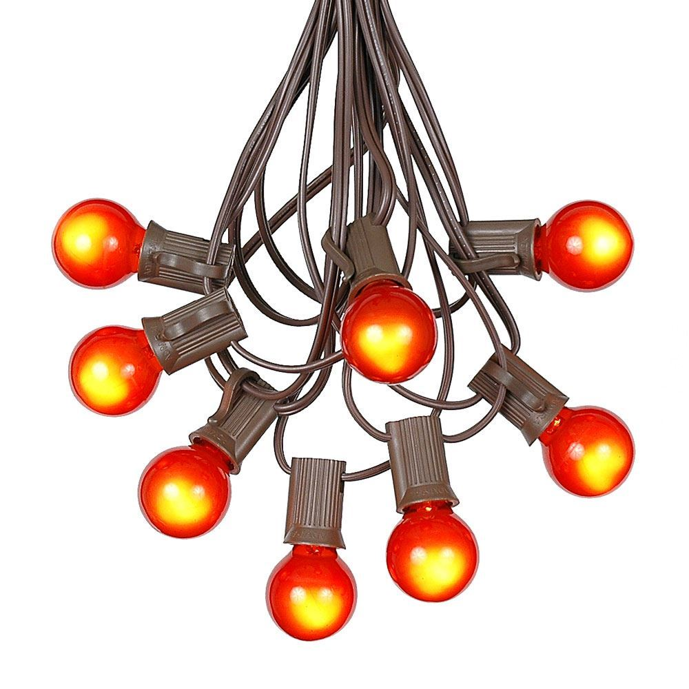 Picture of 25 G30 Globe Light String Set with Orange Satin Bulbs on Brown Wire