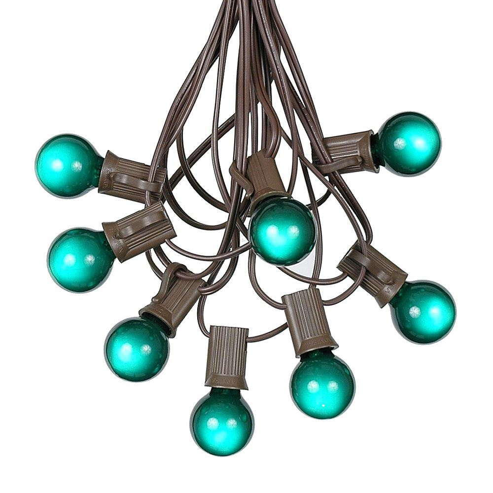 Picture of 25 G30 Globe Light String Set with Green Satin Bulbs on Brown Wire