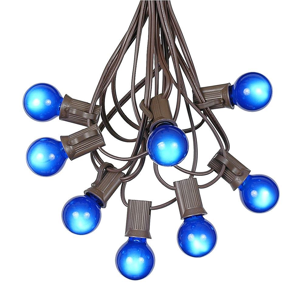 Picture of 25 G30 Globe Light String Set with Blue Satin Bulbs on Brown Wire
