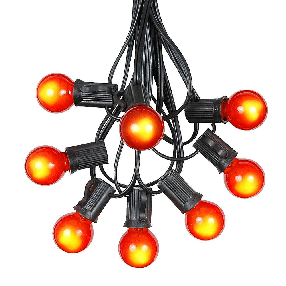 Picture of 25 G30 Globe Light String Set with Orange Satin Bulbs on Black Wire