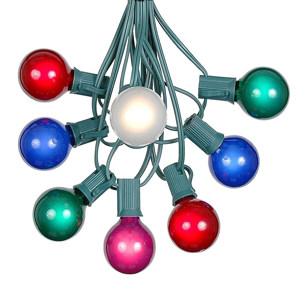 Picture of 25 G40 Globe String Light Set with Multi-Colored Bulbs on Green Wire