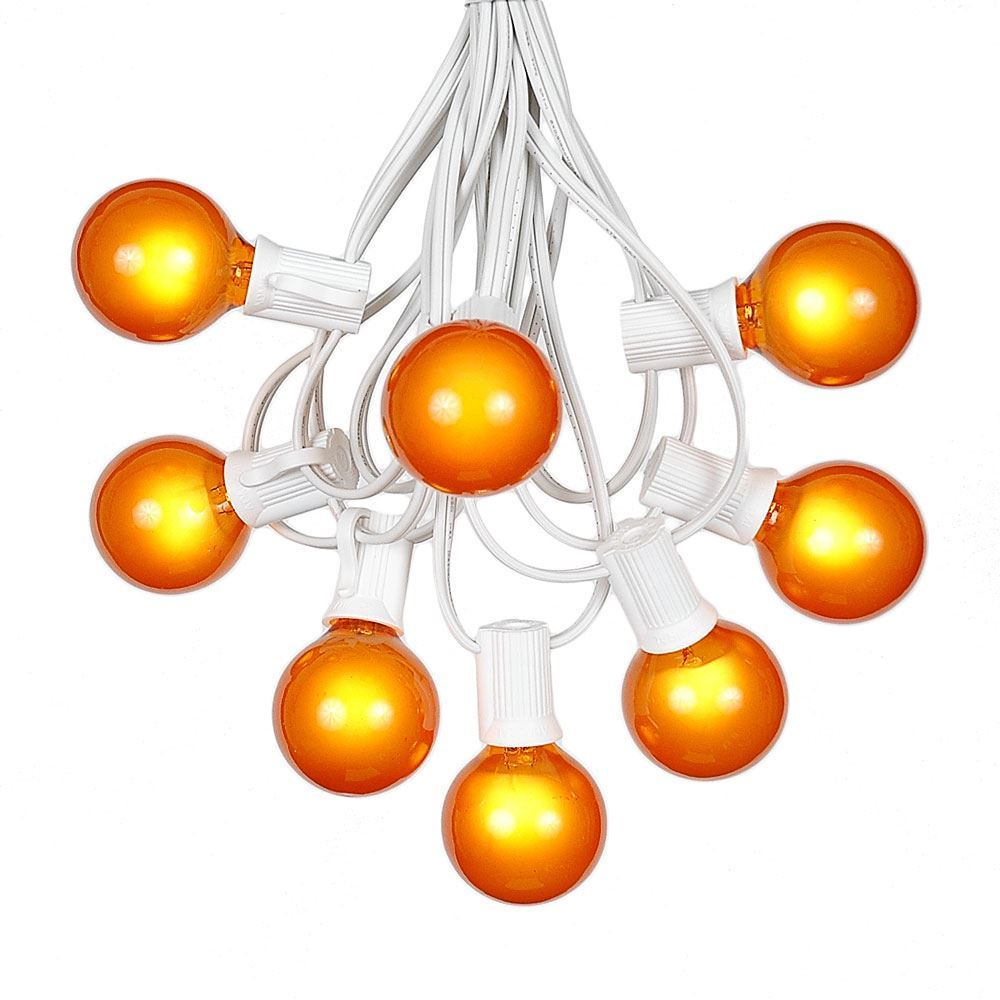 Picture of 25 G40 Globe String Light Set with Orange Satin Bulbs on White Wire