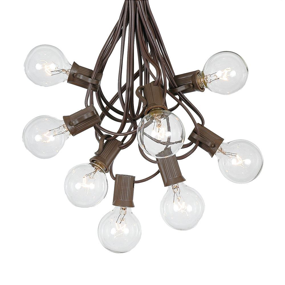 Picture of 25 G40 Globe String Light Set with Clear Bulbs on Brown Wire