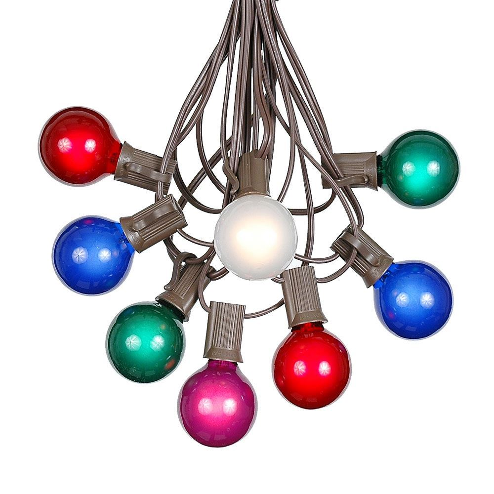 Picture of 25 G40 Globe String Light Set with Multi Colored Bulbs on Brown Wire