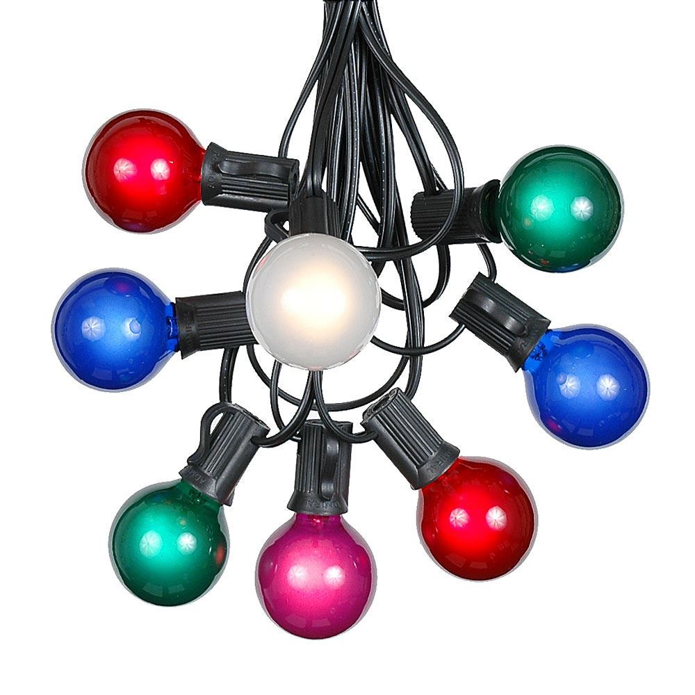 Picture of 25 G40 Globe String Light Set with Multi Colored Bulbs on Black Wire