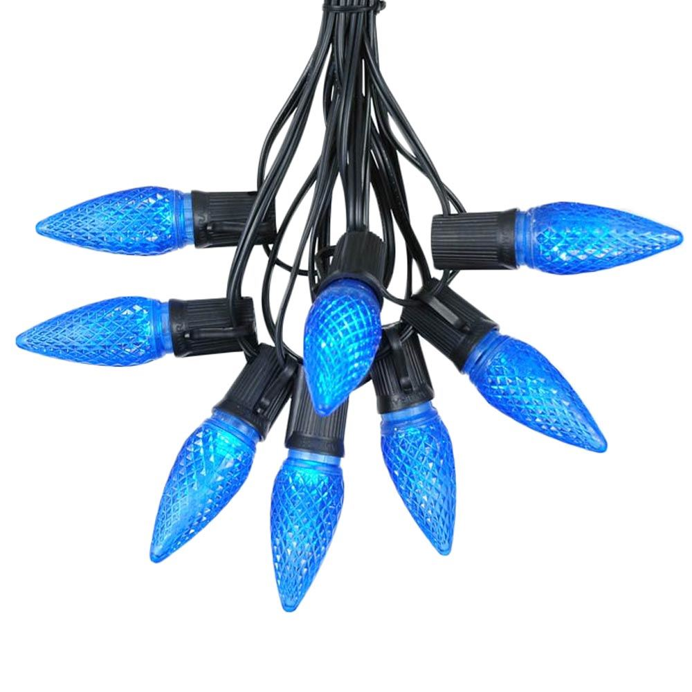 Picture of 25 Light String Set with Blue LED C9 Bulbs on Black Wire