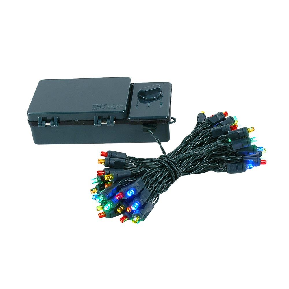 Picture of 50 LED Battery Operated Lights Multi Green Wire